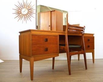 Mid Century Retro Danish Style Teak Desk Dressing Table *INTERNATIONAL DELIVERY Varies See Description*