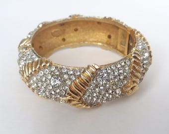 Rhinestone Cuff Bracelet Gold Plated Sparkling Crystal Cadoro 50s Jewelry Vintage Couture Hinged Diamante Gifts For Her UK