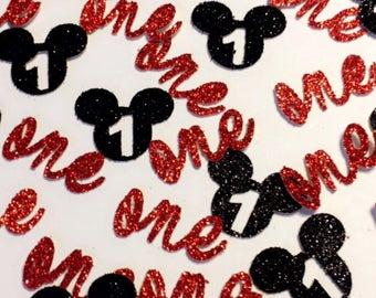 150 Mickey Mouse/One / minnie mouse / happy birthday confetti