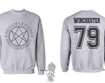 Winchester 79 Dean Winchester Men Of Letters Stamus Contra Malum Supernatural printed on Light Steel Crewneck Sweatshirt