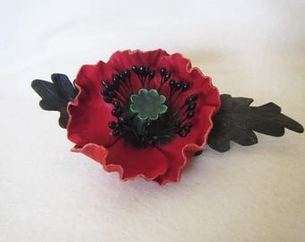 Brooch Red Poppy leather, red poppy hairclip, leather red poppy hairclip, flower red brooch, 2-in-1 brooch-hairclip poppy, hairclip Poppy