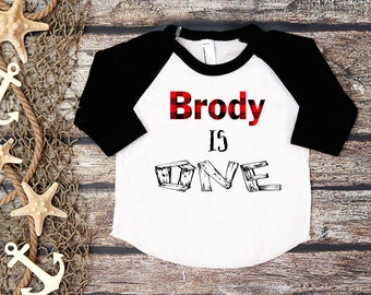 Birthday Boy Shirt;First Birthday;Woodland Birthday;Lumberjack Birthday;Plaid Birthday Shirt Boy;Boy's Baseball Shirt;Boy's Birthday