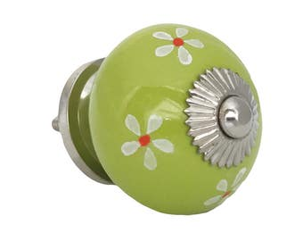 Lime Green & White Flowers Decorative Ceramic Drawer, Cabinet or Door Pull Knob - i701s