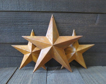 Lot of 3 Rusty Tin Barn Stars 8 inches & 11 inches Primitive Country Rusted Metal Folk Art Stars Americana Decor