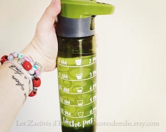 """Décalque """"quantité d'eau que tu dois boire selon l'heure de la journée"""" coller sur votre bouteille d'eau préférée"""