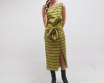 yellow / pleated / maxi dress / issey miyake inspired