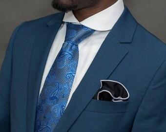 Paisley blue silk Tie