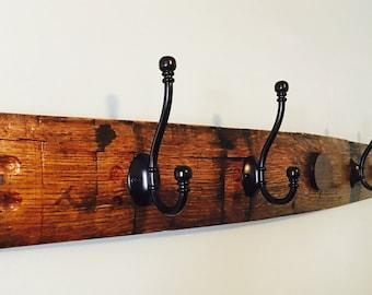 Kentucky bourbon barrel stave coat/hat hanging rack