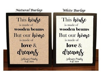 This house made of wooden Beams, Our home made with love and Dreams, Personalized Housewarming gift, Ask Seek Knock, Wedding gift, Wedding