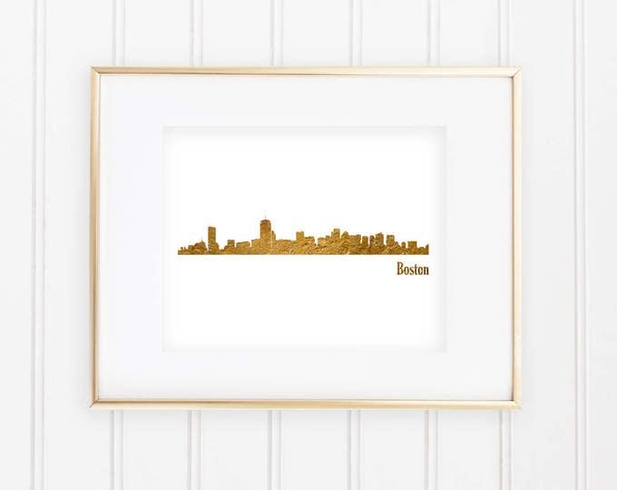 Skyline of Boston - Real Gold Foil Print