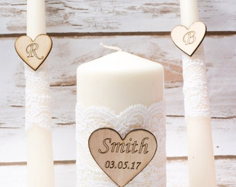 Wedding Unity Candle Set Rustic Unity Candle Set White Lace Wedding Church Ceremony Personalized Ivory Candles
