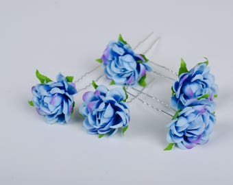 Wedding hair pins blue wedding