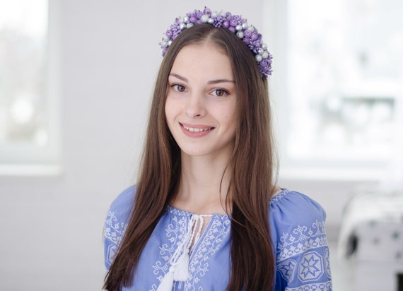 Purple berry headband / silver and purple berries / ukrainian headpiece / Ukraine / Vinok /berry  accessory / wreath