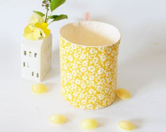 Yellow flower fabric basket , fabric storage with flowers , yellow , kitchen basket, bathroom basket , nursery storage , flowers , spring