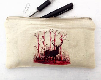 Stag pencil case, Printed make up bag, Teacher gift, cute deer stationary, stocking filler, colourful patterned pencil case, stag case.