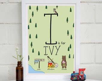Personalised Woodland Alphabet The Letter I | Unique New Baby Gift | I Is For | Name Print | Nursery Print A4 | Personalised | Gift Idea