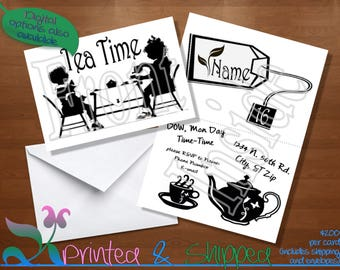 Tea Time Silhouette Invitation; Folded Card; Postcard; PDF; E-Card