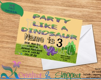 Dinosaur Cartoon Invitation; Folded Card; Postcard; PDF; E-Card