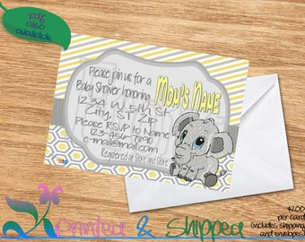Elephant Patterns Baby Shower Invitation; Folded Card; Postcard; PDF; E-Card
