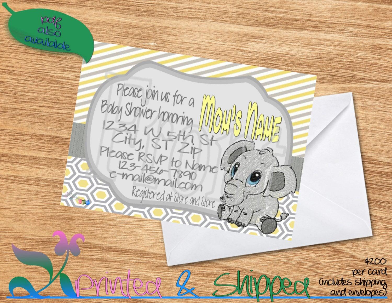 Elephant Patterns Baby Shower Invitation; Folded Card; Postcard; PDF ...