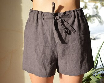 Brownish eggplant linen pajama shorts - Women's Soft linen shorts - Linen loungewear - Soft linen loungewear - Handmade linen shorts