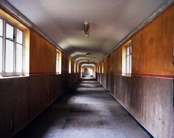 abandoned asylum, fine art print, urban decay art, derelict corridor, rustic wall art, yellow interior, urban photography, modern art print