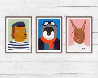 3 Tierportraits Prints Illustrationen Hund Pinguin Hase Eisbär Katze Gans Eule Fuchs Bär Baby Kinderzimmer bunte Wanddeko