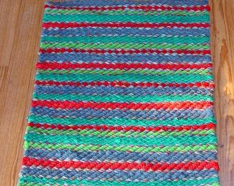 """Handwoven Rag Rug, """"Vibrant Stripes"""""""