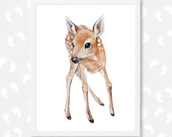 Baby Deer Fawn Watercolor Nursery Animal Print Woodland Animals Deer Nursery Decor Girl Nursery Wall Art Printable Deer Painting Download