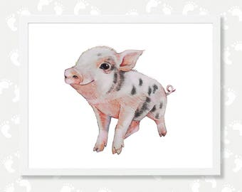 Pig Art Pig Print Farm Animal Nursery Decor Pig Painting Happy Pig Watercolor Baby Animal Print Digital Download Piggy Piglet Printable Art