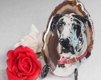 Custom Pet Portrait on Agate stone