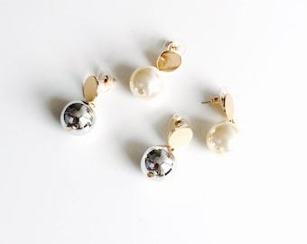 2 tone oversized spherical earrings,  sphere earrings