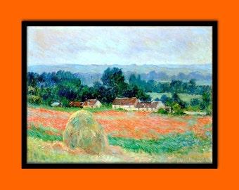 FINE ART REPRODUCTION Haystack at Giverny 1886 Claude Monet Print Fine Art Print Retro     Impressionism Claude Monet Poster