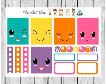 Weekly sticker set - Kawaii Faces - planner stickers