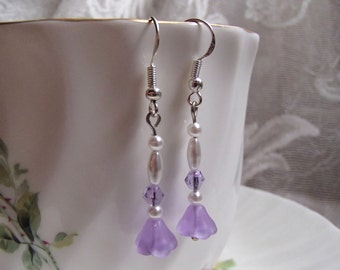 Frosted Light Purple Glass Flower Earrings with Purple Crystal and Glass Pearl Dangle Earrings