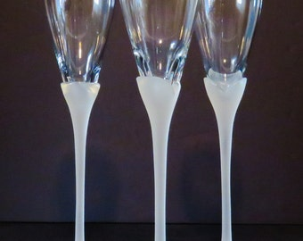 Vintage Champagne Glass Flutes Frosted Stems Set of 3