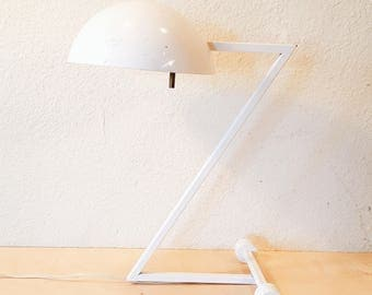 White Mid Century table lamp, Z Lamp, Gooseneck lamp, Industrial Decor, Boho Decor, Desk lamp, MCM, Louis Kalff style lamp, Retro, Funky