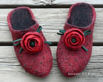 Wool slippers Mother's Day gift Felted mules Useful present Natural latex