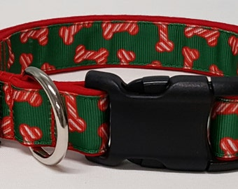 dog collar, christmas bones, christmas dog collar, christmas collar, holiday dog collar, holiday collar, xmas dog collar, xmas collar, xmas