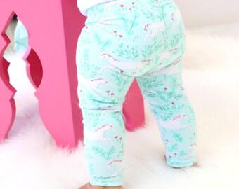 20% OFF SALE - Charming Unicorn Baby Girl Leggings | Aqua, Blush, Pink, Unicorn, Sweet, Headband Baby Girl Pants