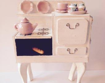 Miniature vintage stove gas range miniature dollhouse kitchen