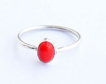 Coral ring, Sterling Silver Ring, 925 Sterling Silver, Silver Ring