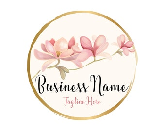 Photography logo, Custom logo design, magnolia flowers logo, flowers logo, gold pink flowers logo, magnolia round circle photography logo