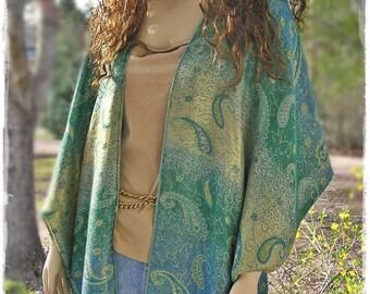 HIPPIE FRINGE KIMONO Boho Gypsy Wrap - Bohemian Cloak Stevie Nicks, Haori Duster Topper Hippie-Chic Festival Jacket Hi-Low  [K-1706]