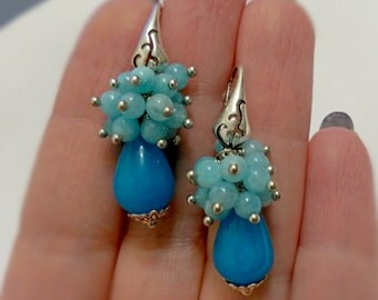 Cluster earrings, blue earrings, natural stone earrings