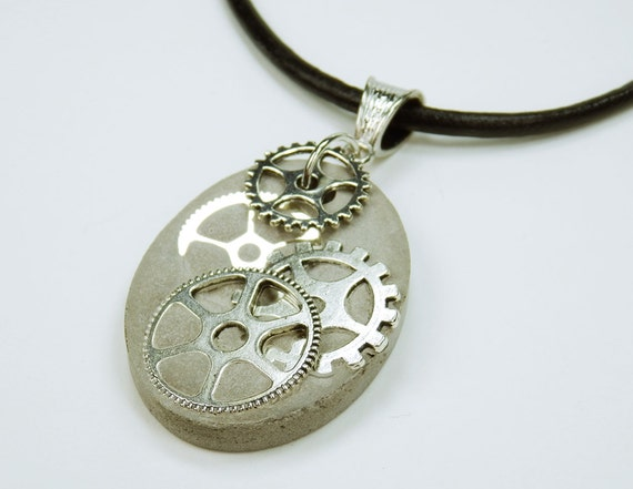 Necklace Gears Steampunk concrete jewelry on black leather strap unique concrete with silver-colored gear vintage concrete Jewelry