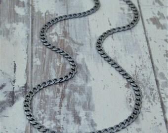 Renewed oxidised silver curb chain - Silver curb chain - Mens silver chain - 20 inch silver chain - British vintage jewellery