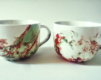 MR and MRS MUG red and green hand painted abstract custom made unique gift couple our first christmas