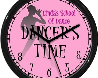 "Dancer's Time Jazz 10"" Pink Wall Clock Personalized Gift & 5 6 7 8 Dance Studio Girl's Room Gift"