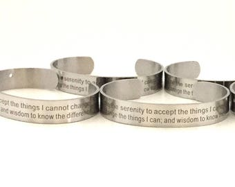 Serenity Prayer Bracelet Blank / Stainless Steel Cuff Bracelet / Bracelets Wholesale / Cuff Bracelets Wholesale / Inspirational Bracelets